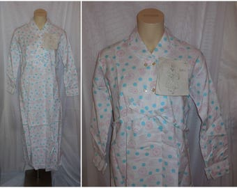 DEADSTOCK Vintage 1960s Nightgown Long Cotton Nightgown Robe Unworn NWT Geometric Pattern Sash Tie German Rockabilly M L chest to 42 in