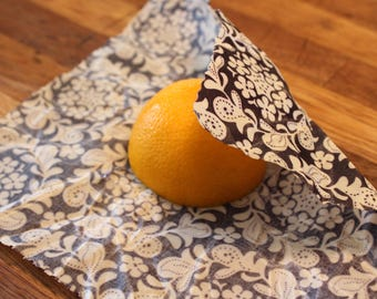 Beeswax food wrap. Natural, reusable alternative to plastic wrap. Large and Medium size Surprise pattern at a discount price.