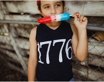 """Swanky Shank """"1776"""" Gender Neutral Independence Day Muscle Tee"""