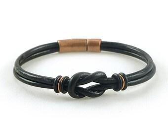 Mens Black Leather Bracelet, Celtic Bracelet, Mens Copper Bracelet, Celtic Leather Bracelet, Friendship Bracelet, Mens Black Bracelet