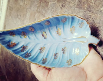 Set of 5 Lightolier Hand Painted  Blue and Gold Leaf Dishes, Vintage China