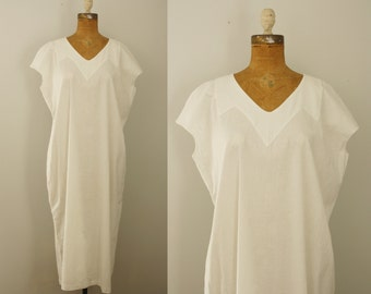 1920s nightgown | vintage 20s white cotton gown