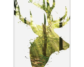 Animal Silhouette 'Forest Deer' by Adam Schwoeppe - Landscape Photography Wooded Nature Art on White Metal