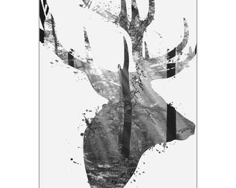 Animal Silhouette 'Forest Deer Gray' by Adam Schwoeppe - Landscape Photography Wooded Nature Art on White Metal