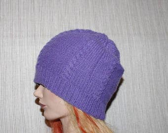 8 Ply Pure Cashmere Purple Cable Hand Knitted Beanie Hat