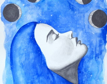 12x18 Mixed Media Painting-Watercolor and Graphite-Blue Woman with Moon Cycles-Phases of the Moon