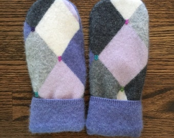 Fleece lined cashnere mittens made from recycled sweaters.