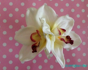 White & Pink Orchid Hair Clip, Double Orchid, Tropical Flowers, Beach Weddings