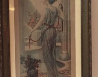 1910 N. Prescott Davies Hand-Tinted Lithograph The Marble Bath Print 191- No. 1619