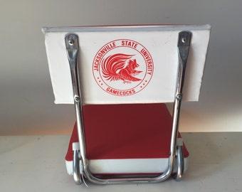 Vintage Folding Stadium Boat Red and White Vinyl Seat Bench Jacksonville State Universisty Gamecocks