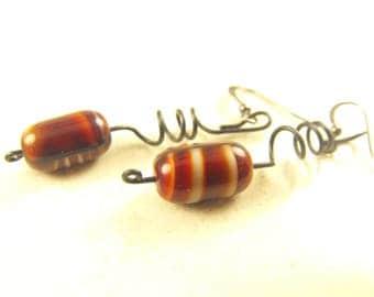 Vintage Earrings Rootbeer Float Glass Bead on Japanned Metal Spirals For Pierced Ears Artisan Made HipCricket Herself c.1996