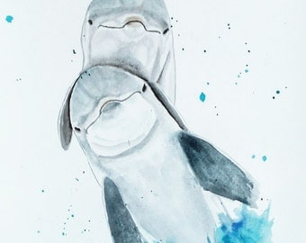 ORIGINAL Dolphins watercolor painting/ Dolphin wall art/ Dolphins nursery Decor