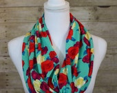 Aqua Floral Infinity Scarf, Red, Yellow Floral Scarf, Christmas Gift, Holiday Gift, Women's Gift, Gift for Her, Christmas Gift