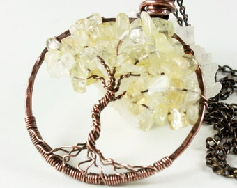 Citrine Tree of Life Necklace, copper wire wrap pendant, light yellow gemstone, talisman necklace, holiday gift for her, November birthstone