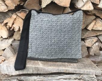 Viking Haversack~ Black and White Wool Messenger Bag ~Viking Bag~Historical Reenactment Shoulder Bag~Messenger Bag~ Celtic Bag~