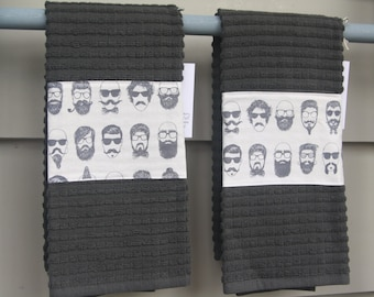 dish towel, hand towel, hostess gift, housewarming gift, modern, pretty towel, hipster, beard, mustache, pipe, guy gift