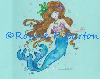 Mermaid Princess fairy fantasy faerie faery colored pencil Prismacolor ORIGINAL art