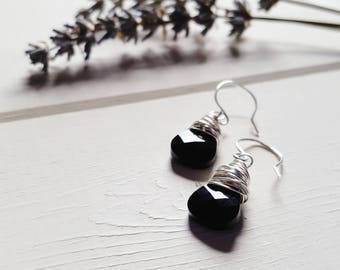 Ruth - Jet Black Drop Earrings, Ready to Ship