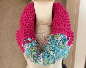 Hand Knit Cowl, Hand Knit Scarf, Art Yarn Scarf, Art Yarn Cowl, Bohemian Scarf