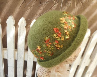 Felted Hat, Hand Knit Felted Hat, Green Hat