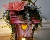 Pink fairy garden pixie house