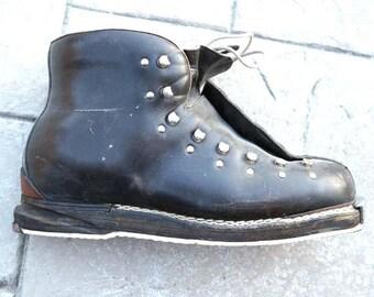 Mens Vintage Sz 12 Leather Ski Boots
