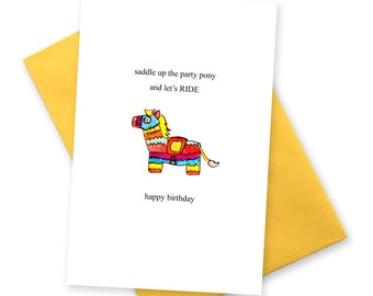 Party Pony funny birthday card . Pinata celebration . modern rainbow greetings cards . Kitsch cute Best friend co worker horse stationery