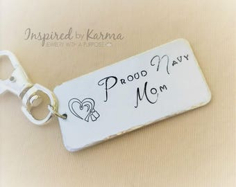 Navy Mom Key Chain,Military Mom,Personalized Key chain,Military Jewelry,gifts under 30,personalized gifts,Proud Navy Mom, Dad, US Navy