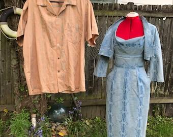 1950s Shaheen Dress Jacket Men's Shirt Asian Hawaiian Metallic Set