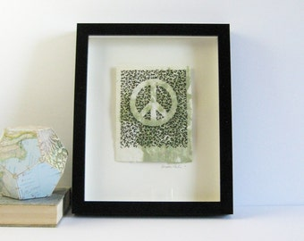 Peace of Green - Embroidery Art on Handmade Paper - 8x10 Black Frame - Shadow Box Art - Original Fibre Art Peace Symbol - Paper Anniversary