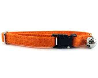 Cat Collar, Small Dog Collar, Orange Crosshatch