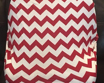 Red chevron Stretchy car seat cover -use as nursing cover or shopping cart cover to!
