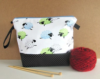 Zipper knitting bag, Crochet wedge bag, Sheep yarn bag, Socks knitting project tote