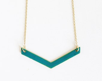 Teal Chevron Necklace.              Reversible Minimal Geometric Necklace.     Minimal Modern Jewelry with a Charitable Donation