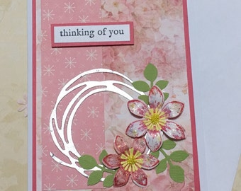 Sympathy card, thinking of you card, greeting card, handmade card, occasion card, pink, flower design