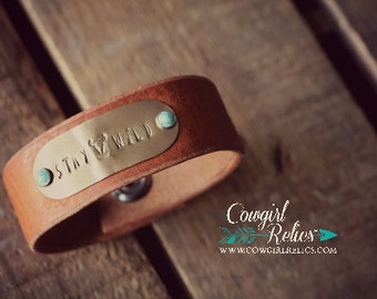 Rustic Leather Cuff Bracelet- Stay Wild, Stamped Cuff, Cognac Leather, Brass, Turquoise, Arrow, Cow Skull