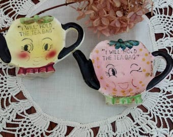Vintage Pair of Anthropomorphic Ceramic Teabag Holders
