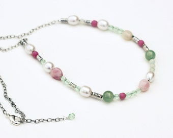 Pink, Green and Pearl Necklace