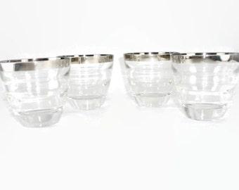 4 Mid Century Mod Silver Rimmed Rocks Glasses Lowball Barware