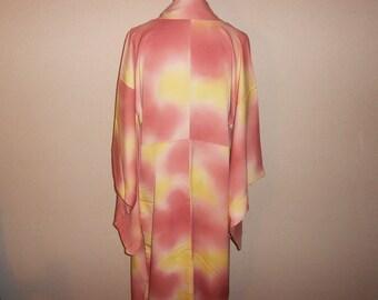 Vintage kimono - Gradation, Soft pink/Lemon yellow
