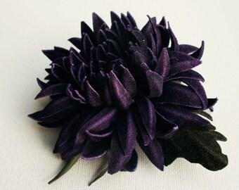 Violet/Green Suede Chrysanthemum Flower Brooch/ Hairclip