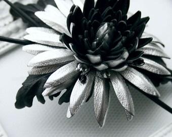 Silver/Black Leather Chrysanthemum Flower Brooch/ Hairclip