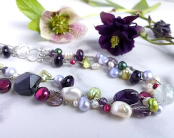 Pearl, Amethyst & Fluorite hand knotted necklace.  June and February Birthstones