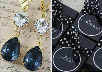 Navy Bridesmaid Earrings Set of 3 4 5 6 7 8 9 10 Navy Blue Jewelry Gold Personalized Gift Box Pear Round Swarovski Crystal Avail as Clip On