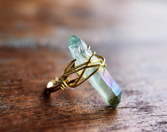Mint Quartz ring / mermaid ring / green crystal ring