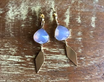Opalite drop earrings / 18k gold plated earrings