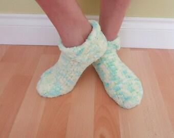 Handknitted Slippers Socks, Velvet Slippers, Women Short Socks, Blue, White, Yellow Slippers for Women