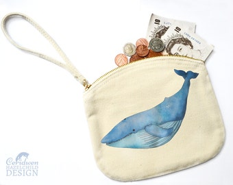 Blue Whale Canvas Zip Purse, Makeup Bag, Coin Purse, Small Accessory Pouch