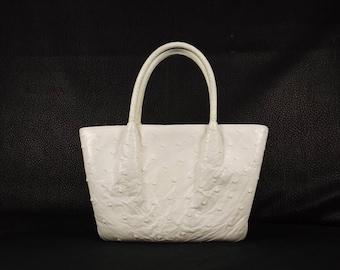 NETTIE ROSENSTEIN White Ostrich Handbag