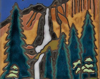 Yosemite Falls, waterfall, hotplate, wall decor, kitchen backsplash, bathroom installation, mural, hand painted,mosaic, Hand crafted in USA